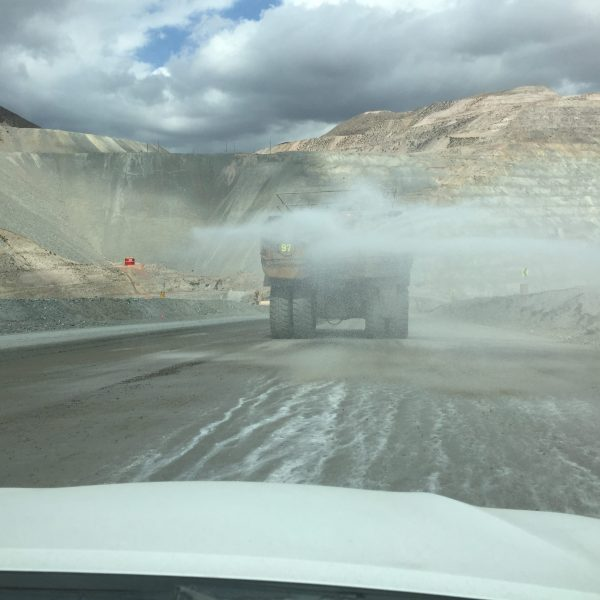 dust suppression of a mining road